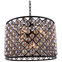 Madison 8 Light 28 inch Mocha Brown Pendant Ceiling Light in Golden Teak, Faceted Royal Cut