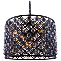 Elegant Lighting 1206D27MB-SS/RC Madison 8 Light 28 inch Matte Black Pendant Ceiling Light in Silver Shade Faceted Royal Cut Urban Classic