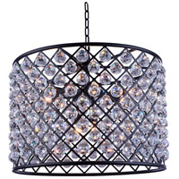 Madison 8 Light 28 inch Matte Black Pendant Ceiling Light in Clear, Faceted Royal Cut, Urban Classic