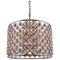 Madison 8 Light 28 inch Polished Nickel Pendant Ceiling Light in Golden Teak, Faceted Royal Cut