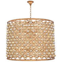 Madison 12 Light 36 inch Golden Iron Pendant Ceiling Light in Golden Teak, Faceted Royal Cut