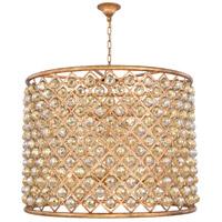 Elegant Lighting 1206D35GI-GT/RC Madison 12 Light 36 inch Golden Iron Pendant Ceiling Light in Golden Teak Faceted Royal Cut Urban Classic