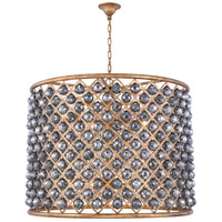 Elegant Lighting 1206D35GI-SS/RC Madison 12 Light 36 inch Golden Iron Pendant Ceiling Light in Silver Shade Faceted Royal Cut Urban Classic