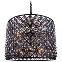 Elegant Lighting 1206D35MB-SS/RC Madison 12 Light 36 inch Matte Black Pendant Ceiling Light in Silver Shade Faceted Royal Cut Urban Classic