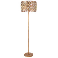 Urban Classic by Elegant Lighting Madison 4 Light Floor Lamp in Golden Iron with Faceted Royal Cut Golden Teak (Smoky) Crystal 1206FL20GI-GT/RC