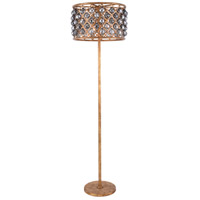 Madison 72 inch 60 watt Golden Iron Floor Lamp Portable Light in Silver Shade, Faceted Royal Cut