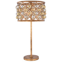 Madison 32 inch 60 watt Golden Iron Table Lamp Portable Light in Golden Teak, Faceted Royal Cut, Urban Classic