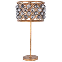 Elegant Lighting 1206TL15GI-SS/RC Madison 32 inch 60 watt Golden Iron Table Lamp Portable Light in Silver Shade Faceted Royal Cut Urban Classic