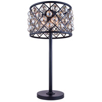 Urban Classic by Elegant Lighting Madison 3 Light Table Lamp in Mocha Brown with Royal Cut Golden Teak Crystal 1206TL15MB-GT/RC
