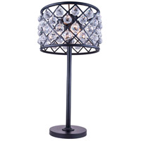 Urban Classic by Elegant Lighting Madison 3 Light Table Lamp in Mocha Brown with Royal Cut Clear Crystal 1206TL15MB/RC