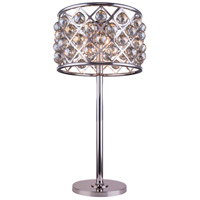Madison 32 inch 60 watt Polished Nickel Table Lamp Portable Light in Golden Teak, Faceted Royal Cut