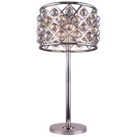 Elegant Lighting 1206TL15PN-GT/RC Madison 32 inch 60 watt Polished Nickel Table Lamp Portable Light in Golden Teak Faceted Royal Cut Urban Classic