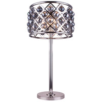 Madison 32 inch 60 watt Polished Nickel Table Lamp Portable Light in Silver Shade, Faceted Royal Cut, Urban Classic