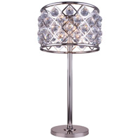 Urban Classic by Elegant Lighting Madison 3 Light Table Lamp in Polished Nickel with Royal Cut Clear Crystal 1206TL15PN/RC