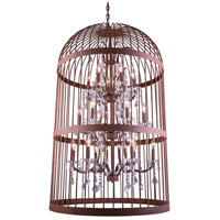 Elegant Lighting Austin 18 Light Pendant in Rustic Intent with Royal Cut Clear Crystal 1207G30RI/RC