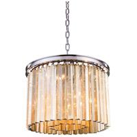 Elegant Lighting 1208D20PN-GT/RC Sydney 6 Light 20 inch Polished Nickel Pendant Ceiling Light in Golden Teak Urban Classic