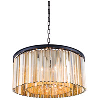 Urban Classic by Elegant Lighting Sydney 8 Light Pendant in Mocha Brown with Royal Cut Golden Teak Crystal 1208D31MB-GT/RC
