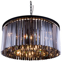 Sydney 8 Light 32 inch Matte Black Pendant Ceiling Light in Silver Shade, Urban Classic