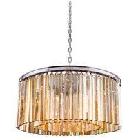 Urban Classic by Elegant Lighting Sydney 8 Light Pendant in Polished Nickel with Royal Cut Golden Teak Crystal 1208D31PN-GT/RC
