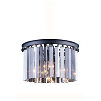 Sydney 3 Light 16 inch Mocha Brown Flush Mount Ceiling Light in Silver Shade