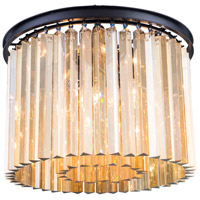 Elegant Lighting 1208F20MB-GT/RC Sydney 6 Light 20 inch Matte Black Flush Mount Ceiling Light in Golden Teak Urban Classic