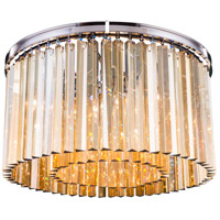 Elegant Lighting 1208F26PN-GT/RC Sydney 8 Light 26 inch Polished Nickel Flush Mount Ceiling Light in Golden Teak Urban Classic
