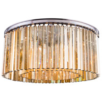 Elegant Lighting 1208F31PN-GT/RC Sydney 8 Light 32 inch Polished Nickel Flush Mount Ceiling Light in Golden Teak Urban Classic