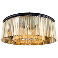 Sydney 10 Light 44 inch Matte Black Flush Mount Ceiling Light in Golden Teak, Urban Classic