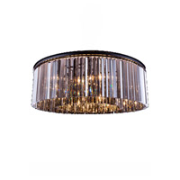 Sydney 10 Light 44 inch Matte Black Flush Mount Ceiling Light in Silver Shade, Urban Classic