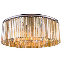 Sydney 10 Light 44 inch Polished Nickel Flush Mount Ceiling Light in Golden Teak