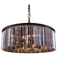 Urban Classic by Elegant Lighting Sydney 10 Light Pendant in Mocha Brown with Royal Cut Silver Shade Crystal 1208G43MB-SS/RC