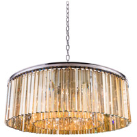 Urban Classic by Elegant Lighting Sydney 10 Light Pendant in Polished Nickel with Royal Cut Golden Teak Crystal 1208G43PN-GT/RC
