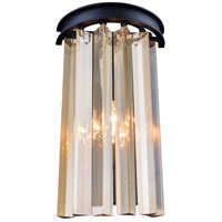 Urban Classic by Elegant Lighting Sydney 2 Light Wall Sconce in Mocha Brown with Royal Cut Golden Teak Crystal 1208W8MB-GT/RC