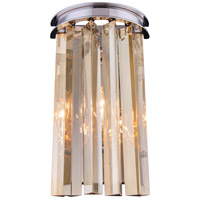 Urban Classic by Elegant Lighting Sydney 2 Light Wall Sconce in Polished Nickel with Royal Cut Golden Teak Crystal 1208W8PN-GT/RC