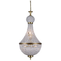 Elegant Lighting 1209D20FG/RC Stella 8 Light 21 inch French Gold Foyer Ceiling Light, Urban Classic