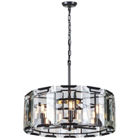 Elegant Lighting 1211D26FB Monaco 6 Light 26 inch Flat Black Pendant Ceiling Light, Urban Classic
