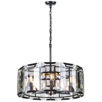 Elegant Lighting 1211D26FB Monaco 6 Light 26 inch Flat Black Pendant Ceiling Light Urban Classic