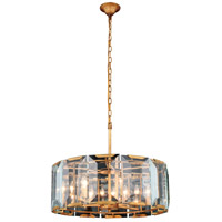 Elegant Lighting 1211D26GI Monaco 6 Light 26 inch Golden Iron Pendant Ceiling Light, Urban Classic