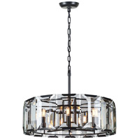 Urban Classic by Elegant Lighting Monaco 8 Light Pendant in Flat Black with Glass Clear Crystal 1211D30FB