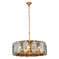 Elegant Lighting 1211D30GI Monaco 8 Light 30 inch Golden Iron Pendant Ceiling Light, Urban Classic