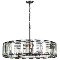 Elegant Lighting 1211D43FB Monaco 10 Light 43 inch Flat Black Pendant Ceiling Light, Urban Classic