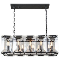 Urban Classic by Elegant Lighting Monaco 10 Light Island Pendant in Flat Black with Glass Clear Crystal 1212D34FB