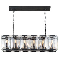 Urban Classic by Elegant Lighting Monaco 12 Light Island Pendant in Flat Black with Glass Clear Crystal 1212D40FB