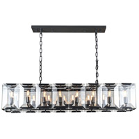 Urban Classic by Elegant Lighting Monaco 16 Light Island Pendant in Flat Black with Glass Clear Crystal 1212D53FB