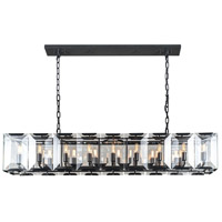 Urban Classic by Elegant Lighting Monaco 18 Light Island Pendant in Flat Black with Glass Clear Crystal 1212D60FB