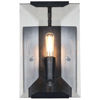 Urban Classic by Elegant Lighting Monaco 1 Light Wall Sconce in Flat Black with Glass Clear Crystal 1212W6FB