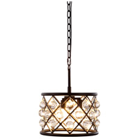 Elegant Lighting 1213D12MB/RC Madison 3 Light 12 inch Matte Black Pendant Ceiling Light in Clear, Smooth Royal Cut, Urban Classic