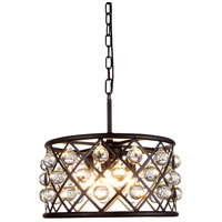 Elegant Lighting 1213D16MB/RC Madison 4 Light 16 inch Matte Black Pendant Ceiling Light in Clear, Smooth Royal Cut, Urban Classic