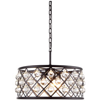 Urban Classic by Elegant Lighting Madison 5 Light Pendant in Mocha Brown with Royal Cut Clear Crystal 1213D20MB/RC
