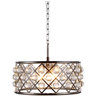 Elegant Lighting 1213D20PN/RC Madison 5 Light 20 inch Polished Nickel Pendant Ceiling Light in Clear, Smooth Royal Cut, Urban Classic